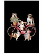 Lovely Phone Case With Bike And Dogs Gift For Bulldog Lovers Vertical Poster