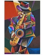 A Man Is Playing Saxophone Special Custom Design For Art Lovers Vertical Poster