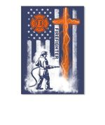 Cross America Flag Firefighter Special Custom Design Personalized Job Gift Peel & Stick Poster