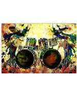 Playing Drums Unique Custom Design For Music Instrument Lovers Horizontal Poster