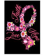 Faith Hope Love Breast Cancer Awareness Custom Design Vertical Poster