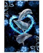 Dolphin With Love Simple Special Custom Design For Animal Lovers Vertical Poster