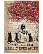 And She Lived Happily Ever After Gift For Cat Lovers Vertical Poster
