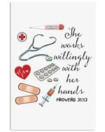 Nurse Works Willingly With Her Hands Trending Gift For Nurse' Vertical Poster