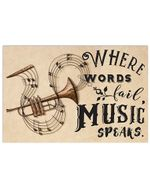 Where Words Fail Music Speaks For Trumpet Lovers Horizontal Poster