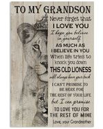 Never Forget That I Love You Quote Gift For Grandson From Grandmother Vertical Poster