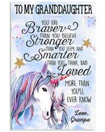 Unicorn Lovely Message From Grampa Gifts For Granddaughters Vertical Poster