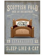 Sleep Like A Cat Scottish Fold Gifts For Cat Lovers Vertical Poster