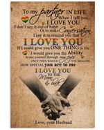To My Partner In Life I Love You To The Moon And Back Gifts From Husband Vertical Poster