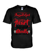August Girl Heart On Her Sleeve A Mouth Can't Control Guys V-Neck