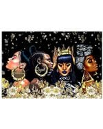 Beautiful Melanin Queen With Gold Flowers Matte Canvas Horizontal Poster