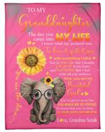 Custom Name Grandma Sarah Gift For Granddaughter Sunflower Elephant With Everything I Have Fleece Blanket