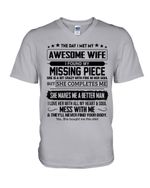 The Day I Met My Awesome Wife My Missing Piece Gift For Wife Guys V-Neck