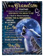 Grandma Gift For Grandson I Love You Howling Wolf Fleece Blanket Sherpa Blanket