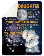 Wherever Your Journey In Life Full Moon Elephant Fleece Blanket Mama Gift For Daughter Sherpa Blanket