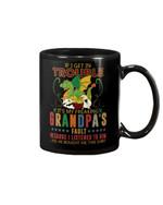 Grandpa Gift For Grandchild Dinosaur Cartoon If I Get In Trouble Mug