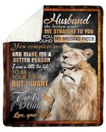 Wife Gift For Husband You Complete Me Lion Fleece Blanket Sherpa Blanket