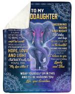 Blue Mandala Elephant Gift For Granddaughter Hope Love Light Fleece Blanket Sherpa Blanket