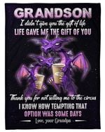Purple Grumpy Old Dragon Gift For Grandson Life Gave Me The Gift Of You Fleece Blanket