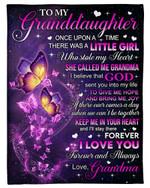 Keep Me In Your Heart Butterflies Fleece Blanket Grandma Gift For Granddaughter Fleece Blanket