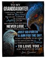 Eagle You Will Never Lose Grandma Gift For Granddaughter Fleece Blanket Sherpa Blanket