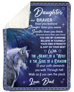 The Heart Of A Wolf Dad Gift For Daughter Sherpa Blanket