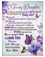 Thank For Making Me Life Fuller Purple Butterflies Fleece Blanket Dad Gift For Daughter Fleece Blanket
