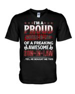 PRoud Mother In Law Of Awesome Son In Law Plaid Red Family Gift Guys V-Neck
