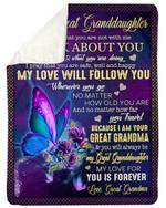 My Love Will Follow You Grandma Gift For Granddaughter Fleece Blanket Sherpa Blanket