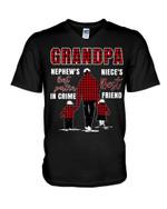 Gift For Grandpa Plaid Red Best Friend Best Partner In Crime Guys V-Neck