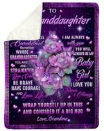 Purple Be Brave Have Courage Gift For Granddaughter Purple Fleece Blanket Sherpa Blanket