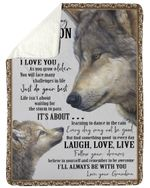 To Amazing Grandson Laugh Love Live Follow Your Dreams Sherpa Blanket