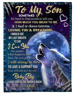 Dad Gift For Son Wolf You Will Always Be My Baby Boy Fleece Blanket Fleece Blanket