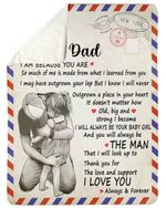 Letter Gift For Dad Thank You For The Love And Support Fleece Blanket Sherpa Blanket