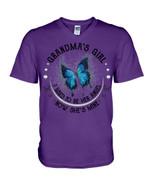 Blue Butterfly Gift For Angel GrandmaI Used To Be Her Angel Guys V-Neck