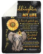 The Day You Came Into My Life Elephant Sunflower Fleece Blanket Meemaw Gift For Granddaughter Sherpa Blanket