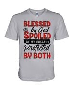 Blessed By God Spoiled By Husband Plaid Red Gift For Family Guys V-Neck