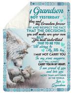 Grandma Gift For Grandson Carry You In My Heart Fleece Blanket Sherpa Blanket