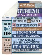 For Boyfriend You Complete Me And Make Me A Better Person Sherpa Blanket