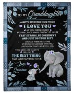 Just Do Your Best Elephant Grandma Gift For Granddaughter Fleece Blanket Sherpa Blanket