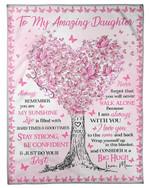 I Am Always With You Pink Heart Tree Fleece Blanket Mama Gift For Daughter Fleece Blanket