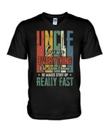 Uncle Knows Everything Vintage Design Gift For Family Guys V-Neck