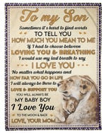 Gift For Son How Much You Mean To Me Fleece Blanket Sherpa Blanket