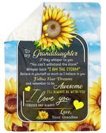 Lovely Gift For Graddaughter Sunflower I Love You Forever And Always Sherpa Blanket