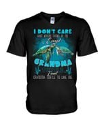 Gift For Grandchild Sea Turtle I Don't Care What Anyone Thinks Guys V-Neck