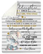 I'll Stay There Forever Elephant Grandma Gift For Granddaughter Fleece Blanket Sherpa Blanket