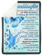 Blue Butterflies I Am Proud Of You Grandma Gift For Granddaughter Fleece Blanket Sherpa Blanket