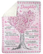 To My Daughter Special Blanket For Daughter Pink Butterfly Sherpa Blanket