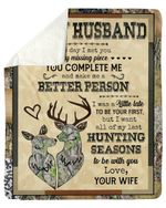 Wife Gift For Husband You Complete Me Deer Fleece Blanket Sherpa Blanket