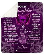 Gift For Daughter Believe In Yourself Purple Fleece Blanket Sherpa Blanket